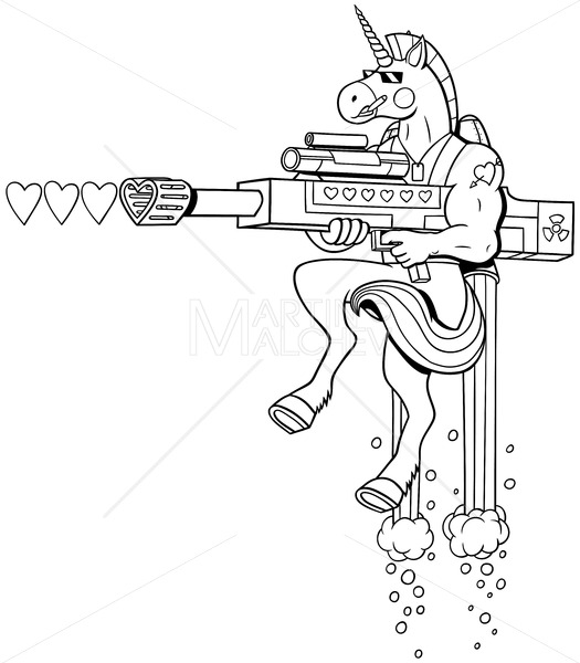 Unicorn Soldier Line Art - Martin Malchev