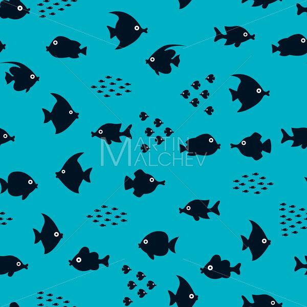 Cartoon Fish Silhouette Pattern - Martin Malchev