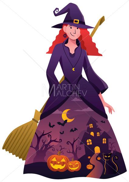 Halloween Witch on White - Martin Malchev