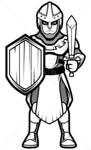 Medieval Soldier Line Art - Martin Malchev