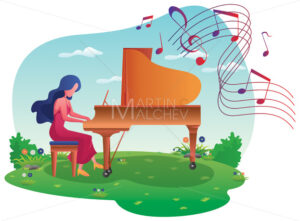 Piano Girl on Meadow - Martin Malchev