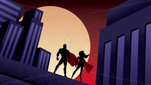 Superhero Couple City Night Animation - Martin Malchev