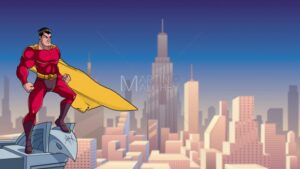 Superhero Watching City from Roof - Martin Malchev