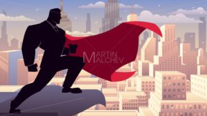 Businessman Superhero Watching on Roof - Martin Malchev