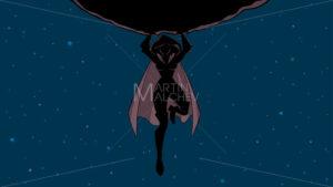 Superheroine Holding Boulder in Space Silhouette - Martin Malchev