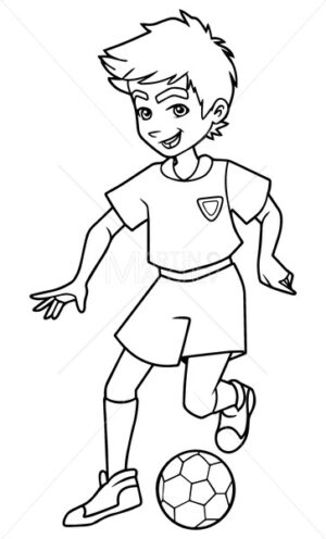 Football Playing Boy Line Art - Martin Malchev