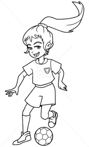 Football Playing Girl Line Art - Martin Malchev