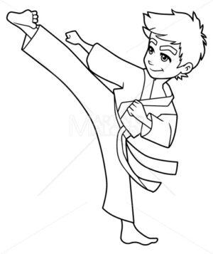 Karate Kick Boy Line Art - Martin Malchev