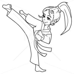 Karate Kick Girl Line Art - Martin Malchev