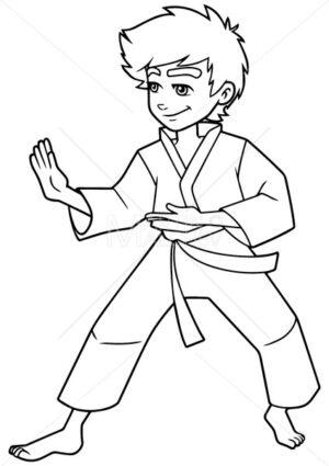 Karate Stance Boy Line Art - Martin Malchev