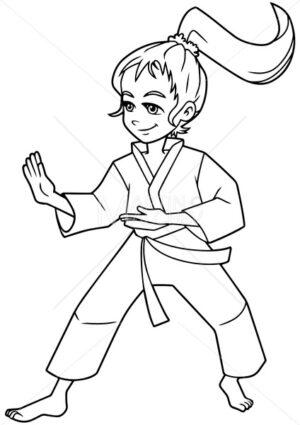 Karate Stance Girl Line Art - Martin Malchev