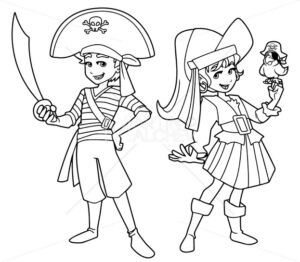 Pirate Kids Line Art - Martin Malchev