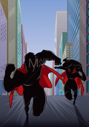 Superhero Couple Running Hero Leads Silhouette - Martin Malchev