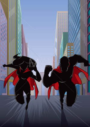 Superhero Couple Running in City Silhouette - Martin Malchev