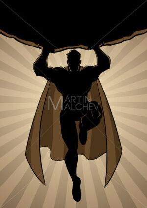 Superhero Holding Boulder Ray Light Silhouette - Martin Malchev