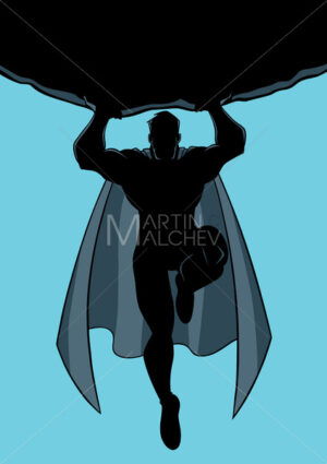 Superhero Holding Boulder Silhouette - Martin Malchev