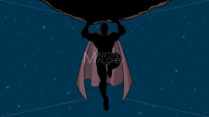 Superhero Holding Boulder in Space Silhouette - Martin Malchev