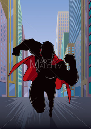 Superhero Running in City Silhouette - Martin Malchev