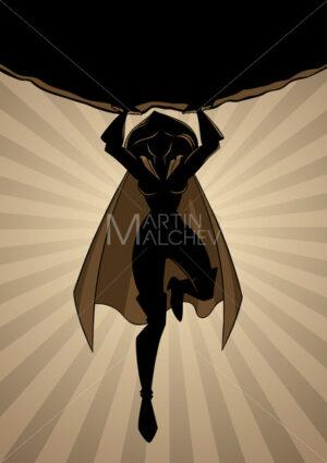 Superheroine Holding Boulder Ray Light Silhouette - Martin Malchev
