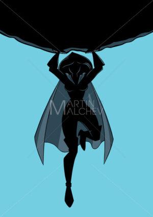 Superheroine Holding Boulder Silhouette - Martin Malchev