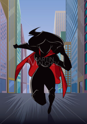 Superheroine Running in City Silhouette - Martin Malchev