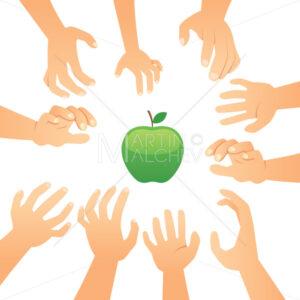 Hands Reaching To Apple - Martin Malchev