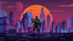 Futuristic Soldier in City - Martin Malchev